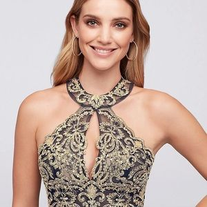 XCAPE Dresses - XCAPE Mermaid Prom Dress Navy Jersey Gold Beading